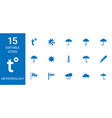 15 meteorology icons vector image vector image