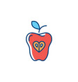 apple icon red apple isolated fruit hipster flat vector image