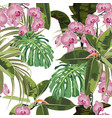 background with exotic pink orchid flowers palm m vector image vector image