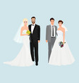 Beautiful elegant Wedding couples collection set vector image vector image