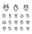 brush style line animal faces icon set vector image