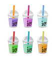 bubble tea or milk cocktail set isolated on white vector image vector image