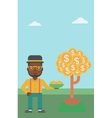 Businessman catching dollar coins vector image vector image