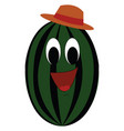 cartoon a smiling water melon with a orange vector image vector image