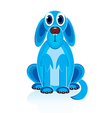 cartoon blue dog vector image vector image