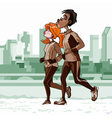 cartoon man and woman engaged in important jogging vector image vector image