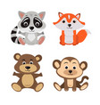 cartoon of seven baby animals racoon vector image vector image