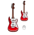 Cartoon smiling red electric guitar character