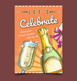 celebrate holiday champagne drink banner vector image