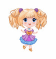 chibi little cute anime girl in purple-blue vector image vector image