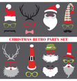 Christmas Retro Party set - Glasses hats lips vector image vector image