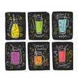 collection of colorful healthy drinks - smoothie vector image