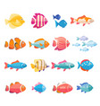 colorful aquarium fish set isolated vector image vector image