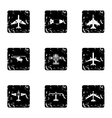 Combat aircraft icons set grunge style vector image vector image