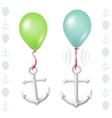 Conceptual balance between balloon and anchor vector image
