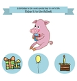 Congratulations birthday with a character pig vector image vector image