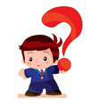 cute bain a business suit holding a big red vector image vector image