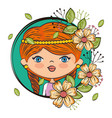 cute girl character with floral frame vector image vector image