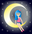 cute girl sitting dreaming on the moon on vector image