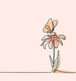 drawing of beautiful flower with butterfly vector image vector image