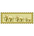 Elephants on stamp vector image vector image