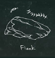 flank steak cut isolated on chalkboard vector image vector image