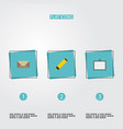 flat icons highlighter whiteboard letter and vector image vector image