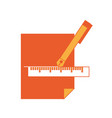 fountain pen and ruler icon vector image