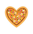 freshly baked pizza in the shape of heart top vector image vector image