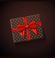gift box with red ribbon realistic present in vector image