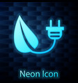 glowing neon electric saving plug in leaf icon vector image vector image