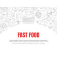 hand drawn fast food restaurant card vector image vector image