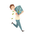 happy wealthy guy carrying safe full money vector image vector image