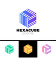 hexagon cube 3d sector group logo package box vector image