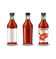 ketchup bottle set realistic mock up vector image vector image