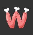 letter w meat font pork and bone alphabet sign vector image vector image