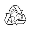 line earth planet with recycle symbol design vector image vector image