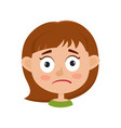 little girl upset face expression isolated on vector image