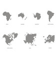 monochrome icons with world continents vector image