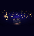 music background gold shining notes and treble vector image