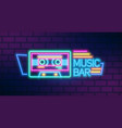 music bar neon sign on brick wall background vector image