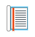 notebook with bookmark stationery office object vector image