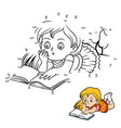 numbers game young girl reading a book vector image vector image