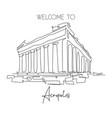 one single line drawing acropolis temple landmark vector image vector image
