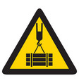 overhead crane crush hazard triangle warning sign vector image vector image