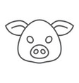 pig thin line icon animal and zoo pork vector image vector image