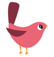 pink cute bird on white background vector image vector image