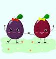 plums smiley girlfriend walk vector image