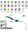 Political map of Caribbean vector image vector image