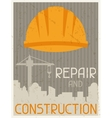Repair and construction Retro poster in flat vector image vector image